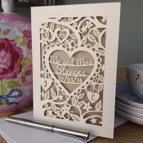Personalised Papercut wedding Card - A5 / Cream / Gold Leaf