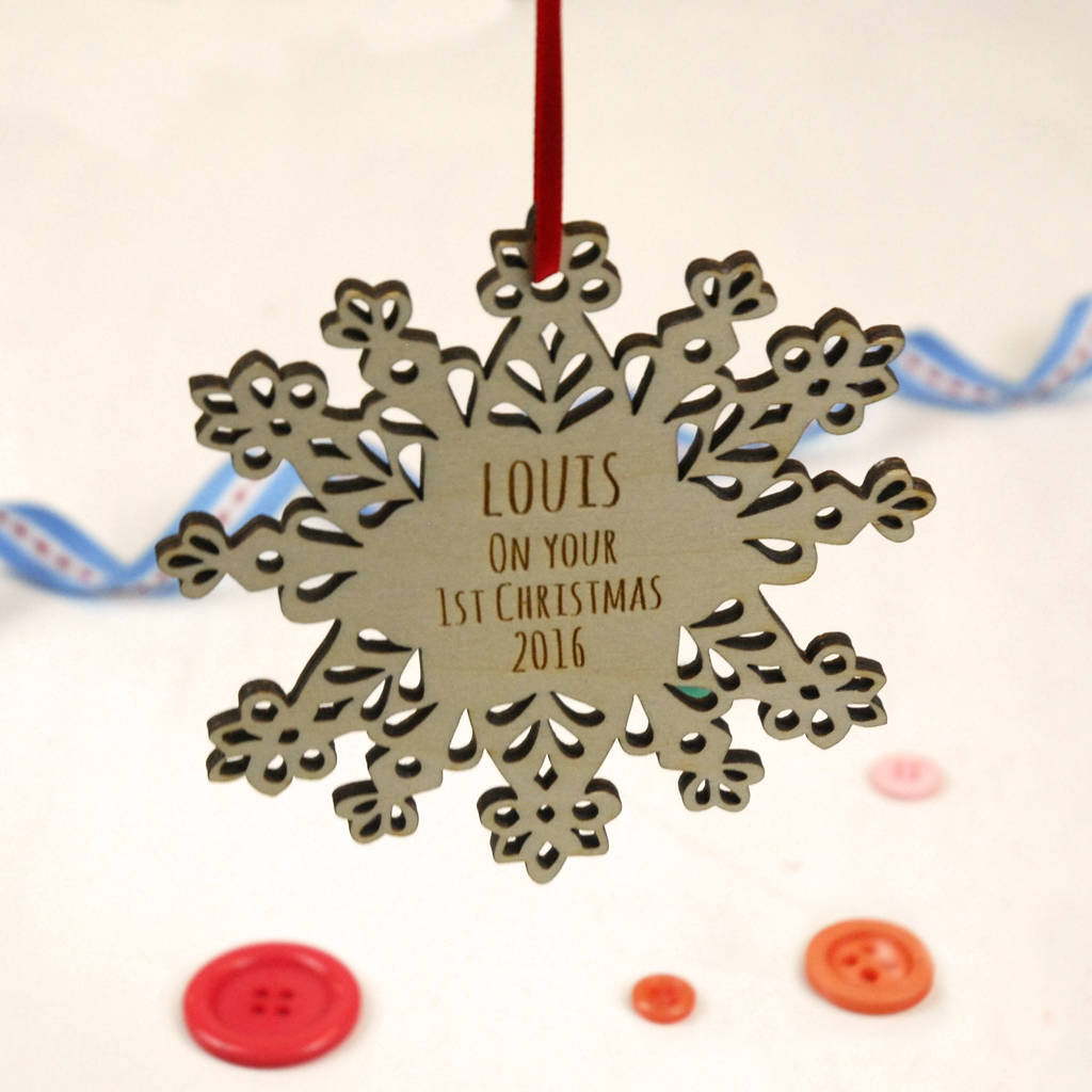 Personalised Snowflake First Christmas Decoration