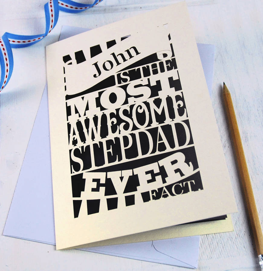 Personalised Awesome Stepdad Papercut Card