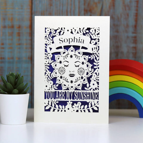 Personalised Sunshine Card - A5 / Infra Violet