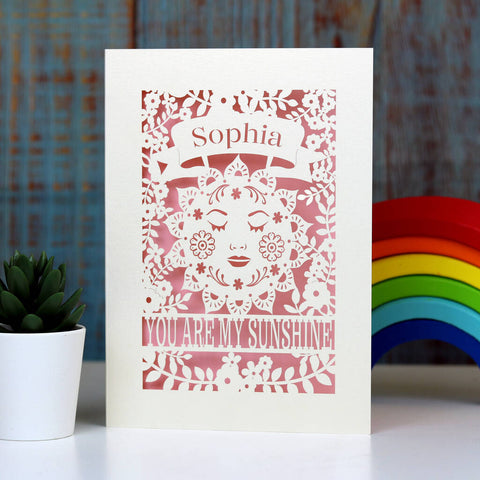 Personalised Sunshine Card - A5 / Candy Pink