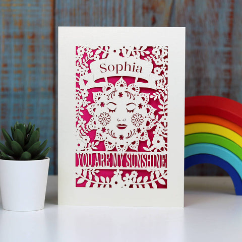 Personalised Sunshine Card - A5 / Shocking Pink