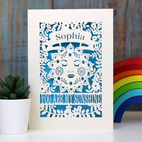 Personalised Sunshine Card - A5 / Peacock Blue