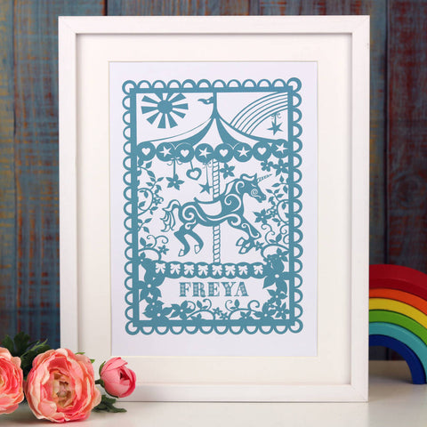 Personalised Carousel Print - Soft Teal