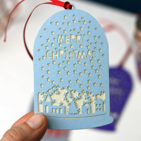 Set Of Five Assorted Papercut Snowglobe Gift Tags -