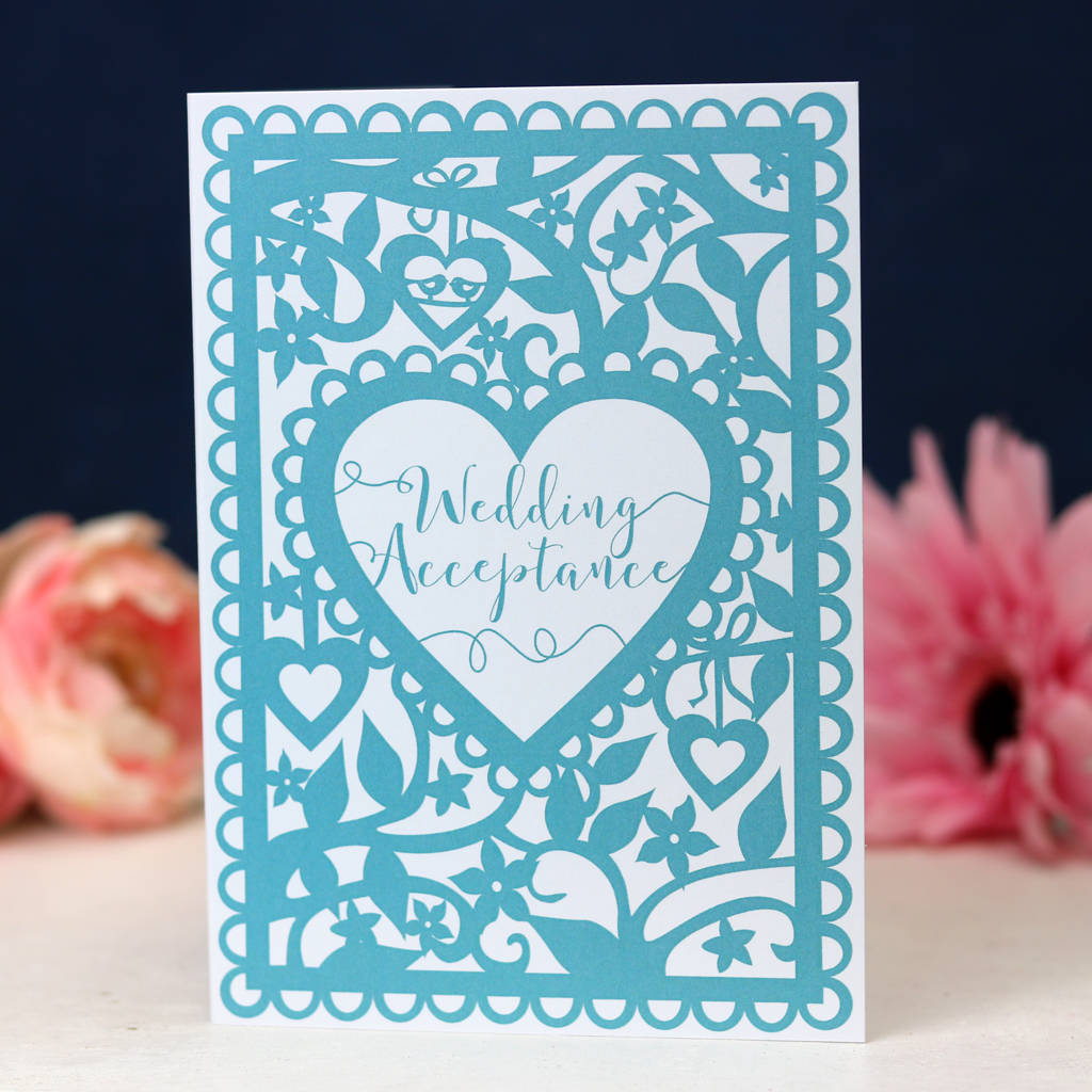 Wedding Acceptance Printed Card Teal A6