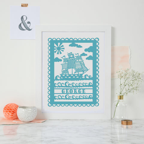 Personalised Pirate Ship Print