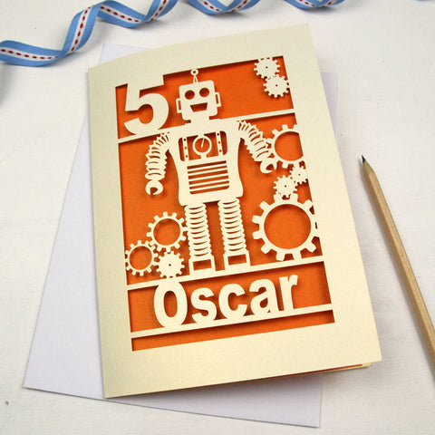 Personalised Papercut Robot Birthday Card - A5 / Cream / Metallic Orange