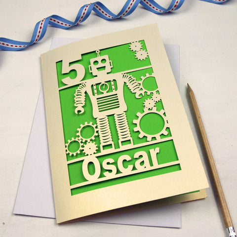 Personalised Papercut Robot Birthday Card - A5 / Cream / Bright Green