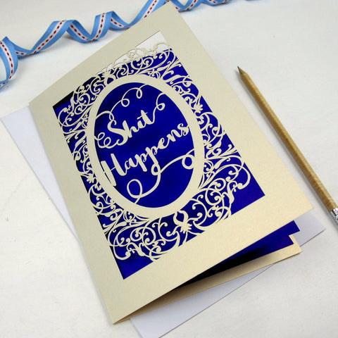 'Shit Happens' Card - A5 / Cream / Infra Violet