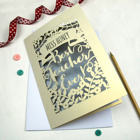 Personalised Papercut Best Teacher Card - A5 / Cream / Silver
