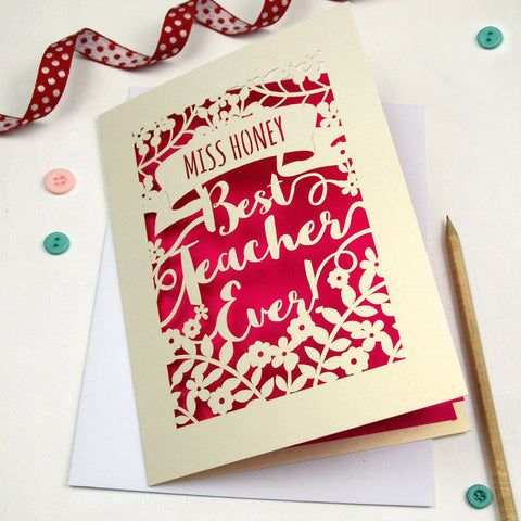Personalised Papercut Best Teacher Card - A5 / Cream / Shocking Pink