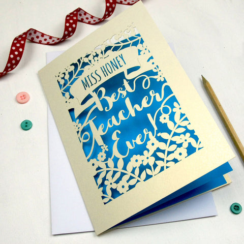 Personalised Papercut Best Teacher Card - A5 / Cream / Peacock Blue