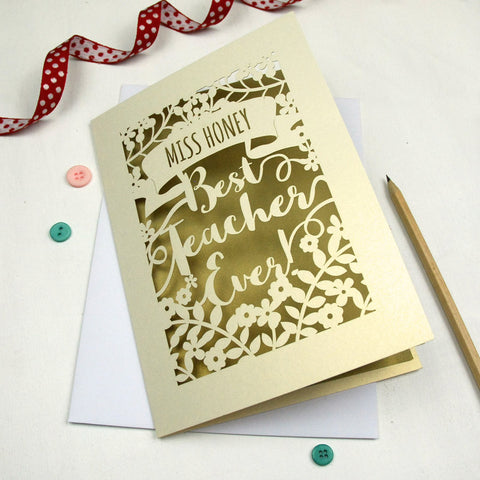 Personalised Papercut Best Teacher Card - A5 / Cream / Gold Leaf