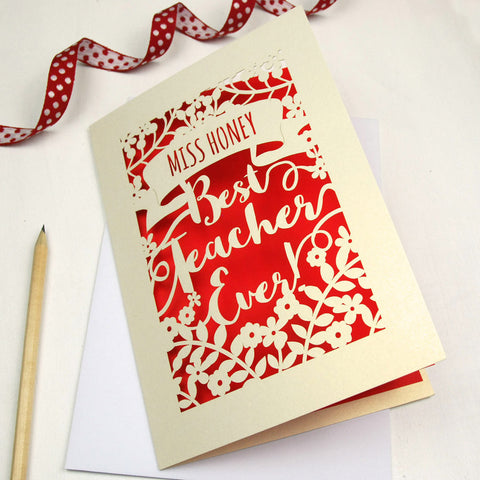 Personalised Papercut Best Teacher Card - A5 / Cream / Bright Red