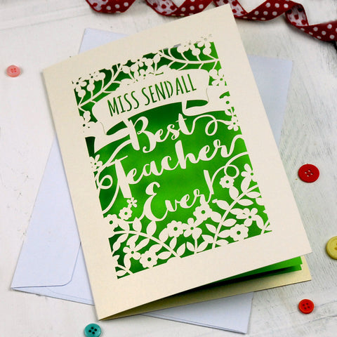 Personalised Papercut Best Teacher Card - A5 / Cream / Bright Green
