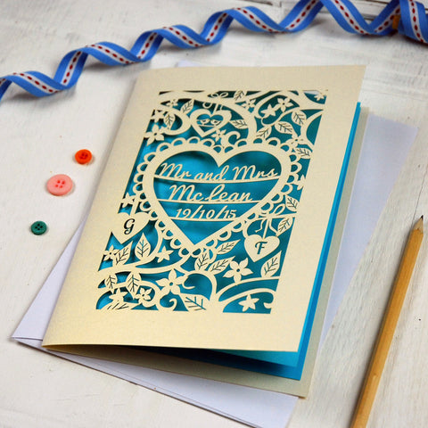 Personalised Papercut Wedding Card - A5 / Cream / Peacock Blue