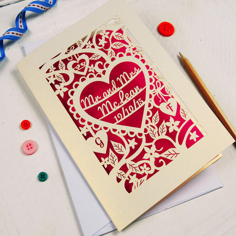 Personalised Papercut Wedding Card - A5 / Cream / Shocking Pink