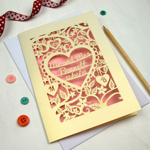 Personalised Papercut Wedding Card - A5 / Cream / Candy Pink
