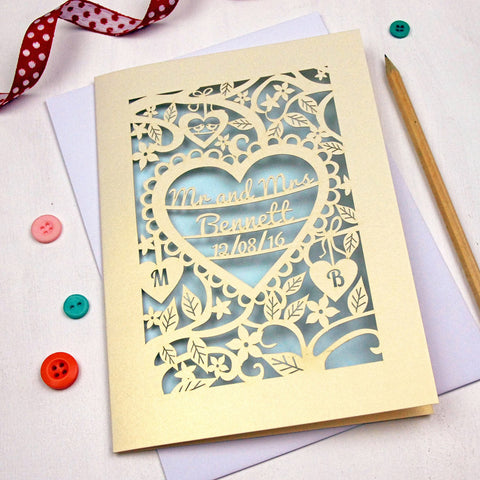 Personalised Papercut Wedding Card - A5 / Cream / Baby Blue