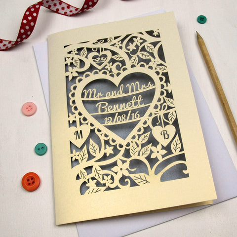Personalised Papercut Wedding Card - A5 / Cream / Silver