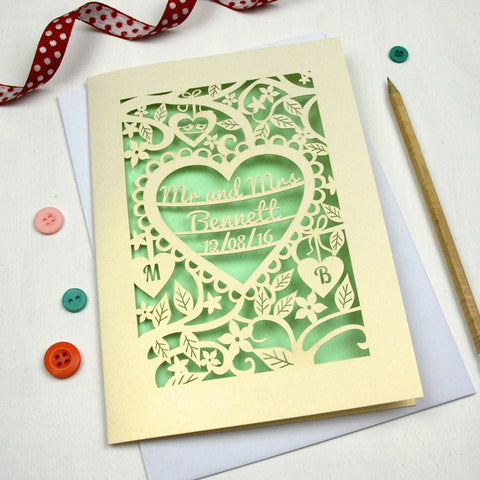 Personalised Papercut Wedding Card - A5 / Cream / Light Green