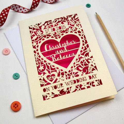 Personalised Papercut 'On Your Wedding Day' Card - A5 / Cream / Shocking Pink