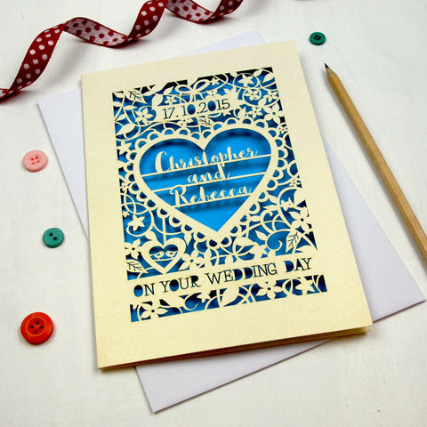 Personalised Papercut 'On Your Wedding Day' Card - A5 / Cream / Peacock Blue