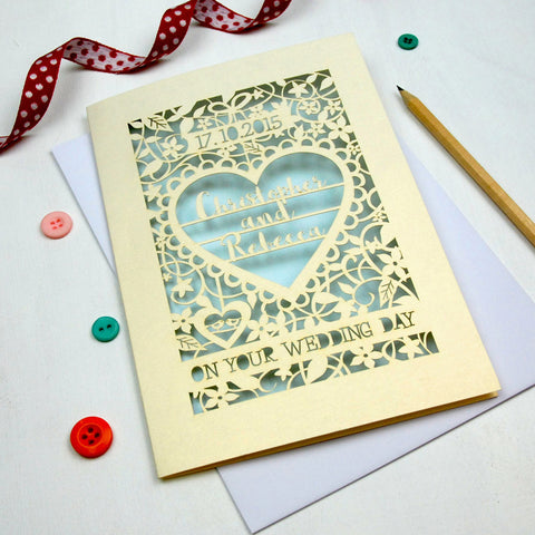 Personalised Papercut 'On Your Wedding Day' Card - A5 / Cream / Baby Blue