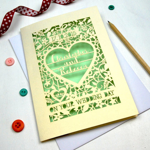 Personalised Papercut 'On Your Wedding Day' Card - A5 / Cream / Light Green