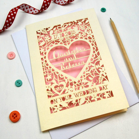 Personalised Papercut 'On Your Wedding Day' Card - A5 / Cream / Candy Pink