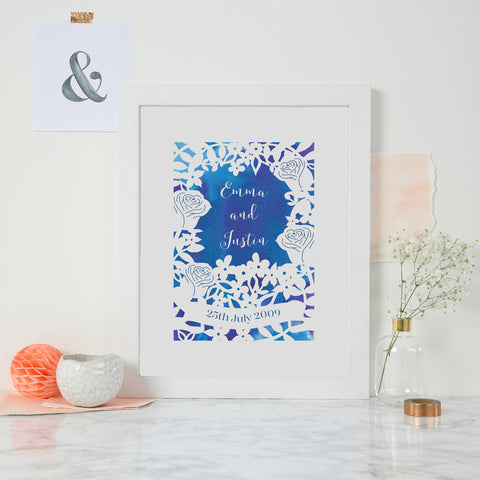 Personalised Watercolour Wedding Roses Print