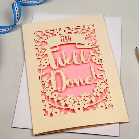 Personalised 'Well Done' Papercut Card - A5 / Cream / Candy Pink