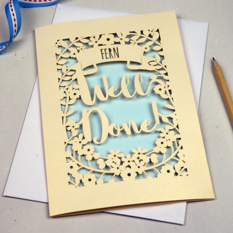 Personalised 'Well Done' Papercut Card - A5 / Cream / Baby Blue