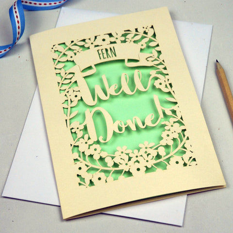 Personalised 'Well Done' Papercut Card - A5 / Cream / Light Green