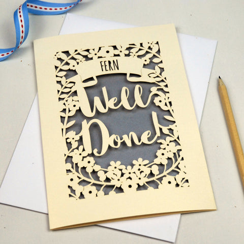 Personalised 'Well Done' Papercut Card - A5 / Cream / Silver