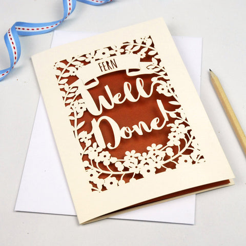 Personalised 'Well Done' Papercut Card - A5 / Cream / Copper