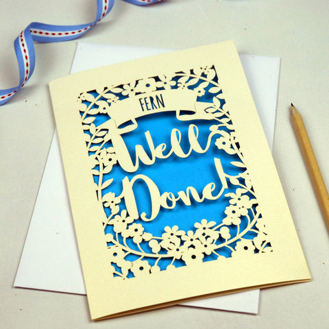 Personalised 'Well Done' Papercut Card - A5 / Cream / Peacock Blue