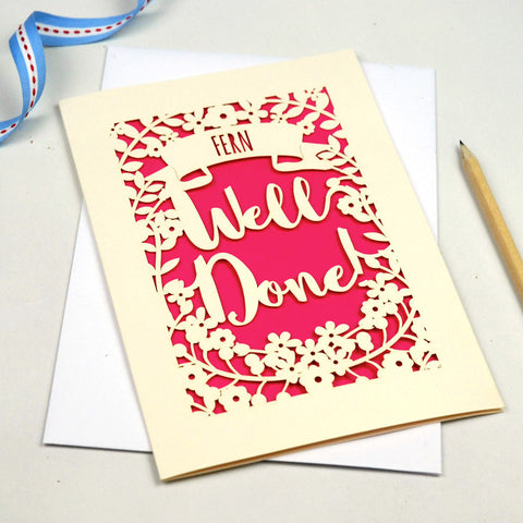 Personalised 'Well Done' Papercut Card - A5 / Cream / Shocking Pink