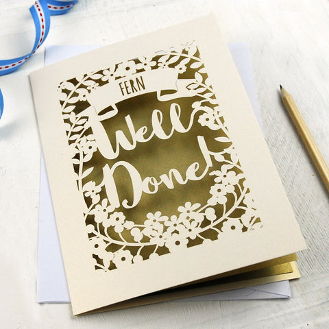 Personalised 'Well Done' Papercut Card - A5 / Cream / Gold Leaf