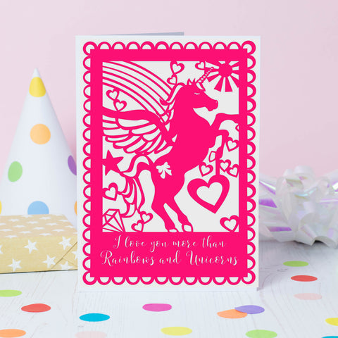 Unicorn and Rainbows Pink Valentine's Card -