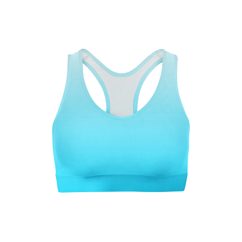 White Blue Ombre Sports Bra - Frugal Bob's
