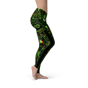 Veronica Mesh Happy St Patricks Day Leggings - Frugal Bob's