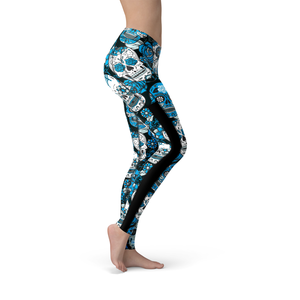 Veronica Mesh Blue Sugar Skulls Leggings - Frugal Bob's