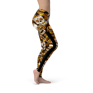 Veronica Mesh Orange Sugar Skulls Leggings - Frugal Bob's