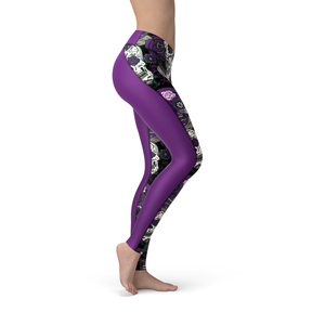 Catrina Purple Sugar Skulls Leggings - Frugal Bob's