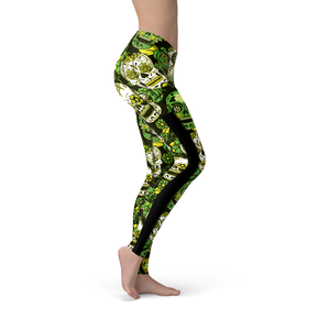 Veronica Mesh Green Sugar Skulls Leggings - Frugal Bob's