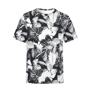 Men's Black White Leaves T-Shirt - Frugal Bob's