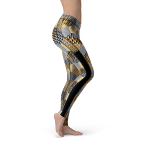 Veronica Mesh Golden Geometric Leggings - Frugal Bob's