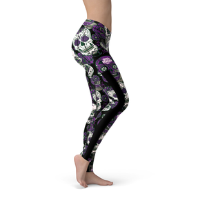 Veronica Mesh Purple Sugar Skulls Leggings - Frugal Bob's